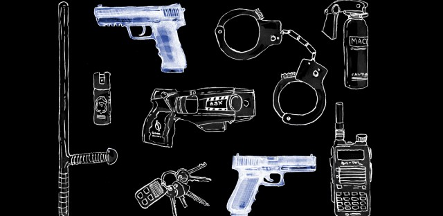 Illustration of tools used by police laid out in an organized fashion, guns highlighted in blue
