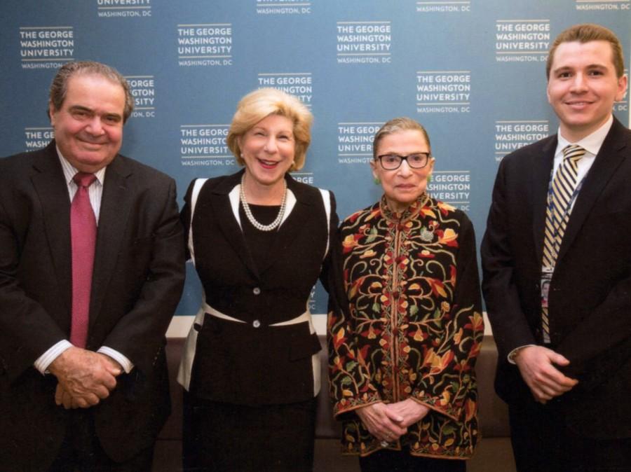 Antonin Scalia, Nina Totenberg and Ruth Bader Ginsburg