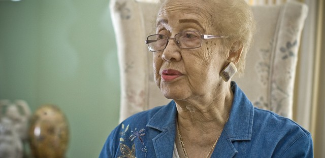 Katherine Johnson, seen here in 2008, calculated the trajectories for John Glenn's historic Friendship 7 mission.