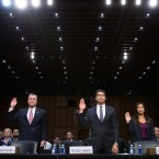 Acting Director of the Bureau of Alcohol, Tobacco, Firearms and Explosives Thomas Brandon (from left), Acting Deputy FBI Director David Bowdich and U.S. Secret Service's National Threat Assessment Center head Lina Alathari are sworn in before testifying to the Senate Judiciary Committee on Wednesday.