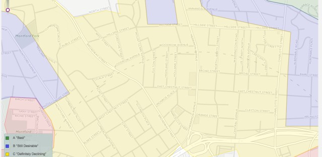 Zooming in reveals the redlining districts as an overlay on a modern map. This section shows part of Asheville, N.C.