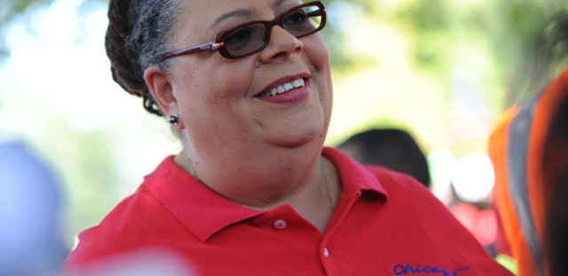 Chicago Teachers Union President Karen Lewis at Saturday's rally of striking teachers.