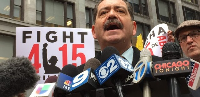 Unions and Garcia push for $15-an-hour minimum wage