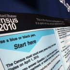 A sample Census form is displayed in New York City's Times Square in 2010.