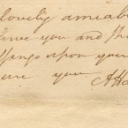 """The end of a love letter from Alexander Hamilton to his future wife Elizabeth Schuyler written while they were """"courting"""""""