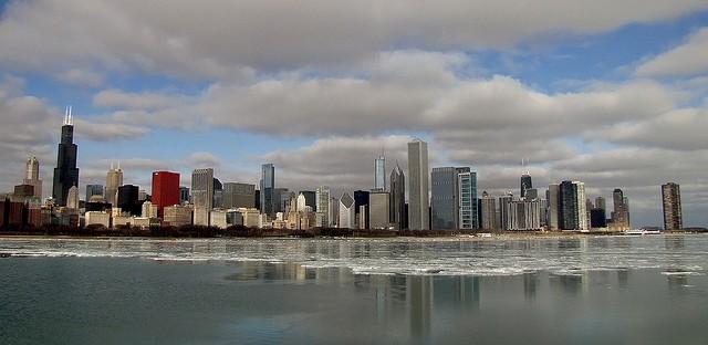 File: Chicago skyline in winter.