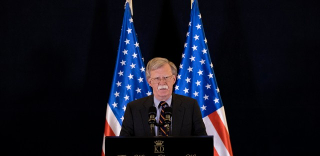 U.S. national security adviser John Bolton gives a media conference in Jerusalem, Israel, Wednesday Aug. 22, 2018. Bolton has conducted high level diplomatic meetings during his visit to Israel.