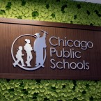 Chicago Public Schools logo is shown at the district's headquarters on Jan. 24, 2018.