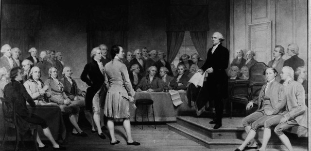 George Washington is depicted addressing the Constitutional Convention of 1787 in this painting by Junius Brutus Stearns.