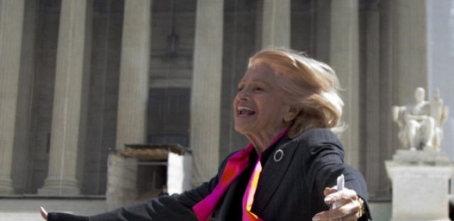 Edie Windsor, the plaintiff in DOMA, outside the Supreme Court