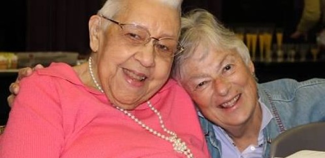Wanda Bridgeforth, pictured at left, celebrates her birthday