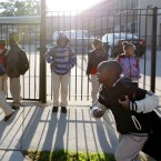 Students gather outside Benjamin E. Mays Academy