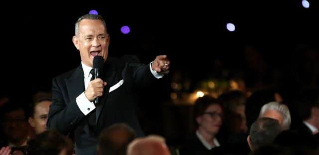 Tom Hanks speaks at the Academy of Motion Picture Arts and Sciences' Governors Awards in 2016. His first book is called 'Uncommon Type.'