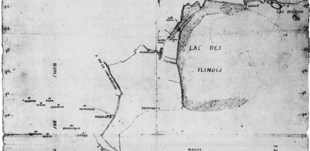 A cropped view of Marquette's 'Autograph map of the Mississippi or Conception River, 1673
