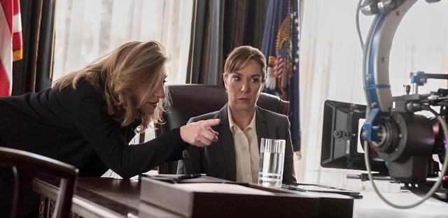 'Homeland' Executive Producer and Director Lesli Linka Glatter speaks with Elizabeth Marvel (as Elizabeth Keane) on set