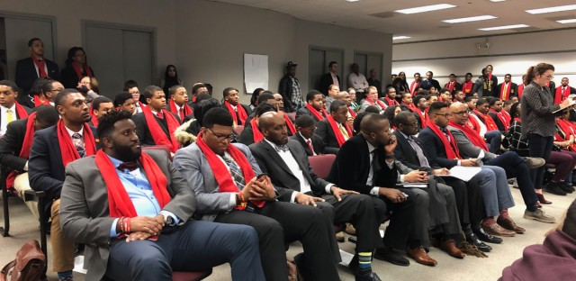 Supporters of Chicago's Urban Prep West, an all-boys charter school, packed an Illinois State Charter School Commission hearing in March 2019 where they appealed a Chicago Public Schools' decision to shut them down.