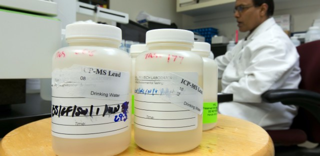 In this Friday, March 25, 2016 photo, Director of Chemistry Ravi Swamy, of Aqua Pro-Tech Laboratories, uses inductively coupled plasma mass spectroscopy to test drinking water samples at the facility, in Fairfield, N.J. Responding to the crisis in Flint, Michigan, school officials across the country are testing for lead in the water flowing from classroom sinks and cafeteria faucets to reassure anxious parents or take action if they are surprised by the results.