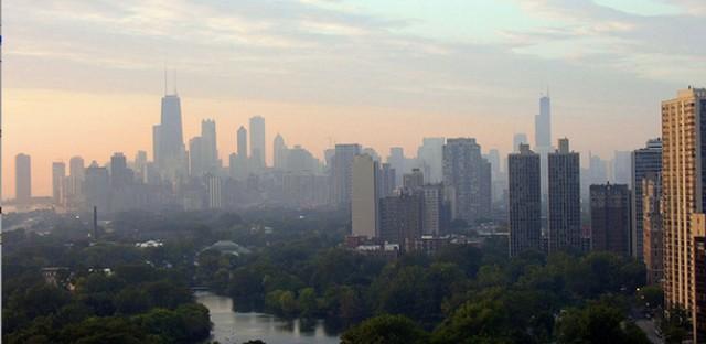 A hazy Chicago skyline.