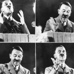 """German dictator Adolf Hitler gives a speech in October 1944. Author Norman Ohler says that Hitler's abuse of drugs increased """"significantly"""" from the fall of 1941 until the winter of 1944."""