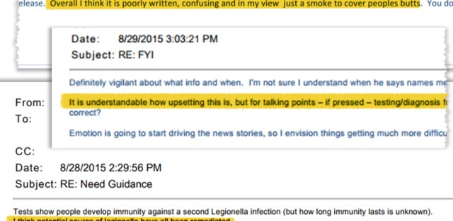 A collage of some of the emails obtained from the Adams County Health Department