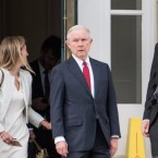 Attorney General Jeff Sessions is expected to be asked about his meetings with Russian officials when he testifies Tuesday. He's seen here leaving the Appellate Chiefs' Conference in South Carolina this weekend.