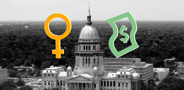 Black and white image of the the Illinois state Capitol building overlaid with a yellow female gender icon and a green dollar bill icon