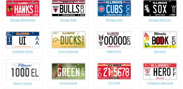 Currently, Illinois has nearly 110 specialty plates to support various causes or sports teams. The new plates, not pictured here, would feature a universal design and allow for a large decal representing a specific charity. (Image courtesy of cyberdriveillinois.com)