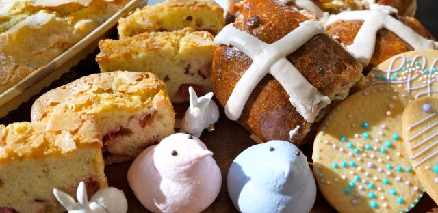 """Hot cross buns and other Easter treats from Flour Bakery in Los Angeles. Flour sells the buns for about a month near Easter, but """"customers want them earlier every year,"""" executive pastry chef Nicole Rhode says."""