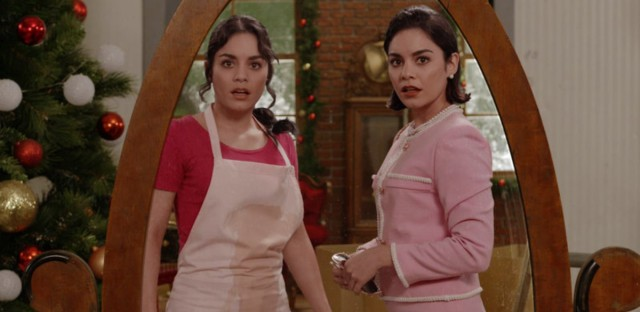 Vanessa Hudgens as both Stacy and Margaret in the Netflix holiday confection The Princess Switch. Netflix
