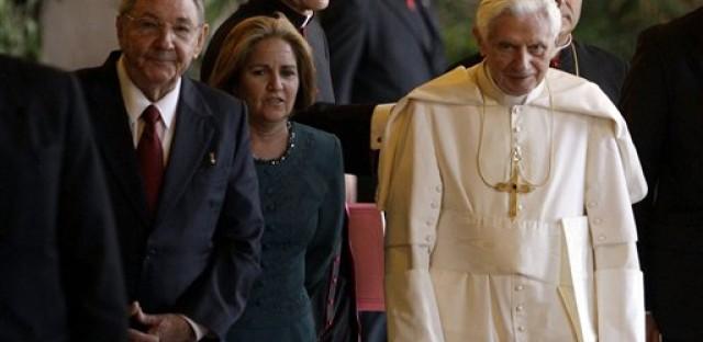 Cuba's President Raul Castro stands next to Pope Benedict XVI in Havana, Cuba last week.