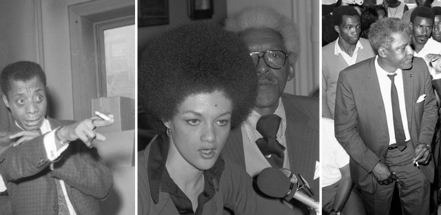 From left to right: Civil rights organizer Bayard Rustin, left, appears with writer James Baldwin, calling on President Kennedy to send troops to integrate Alabama schools in 1963; with former Black Panther Kathleen Cleaver in 1976; and with movement leader Dr. Martin Luther King Jr. after the 1965 L.A. riots.