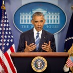 President Obama speaks in the White House briefing room on Thursday following the Supreme Court decision on immigration.