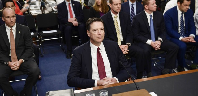 Former FBI Director James Comey testifies during a Senate Select Committee on Intelligence hearing on Capitol Hill on Thursday.