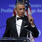 Former President Barack Obama speaks after receiving the 2017 John F. Kennedy Profile In Courage Award at the John F. Kennedy Library on Sunday in Boston.