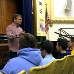 Quigley talking to Alcott students
