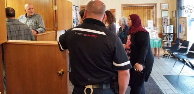 Palos Township government has begun contracting with a private security firm to guard its meetings. The decision follows two years of protests by anti-racist activists who want trustee Sharon Brannigan to resign.