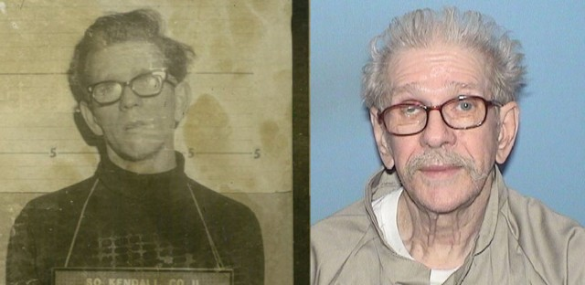 Carl Reimann on the night of his arrest in 1972 (left) and more recently (right). Reimann was paroled in April at the age of 77.
