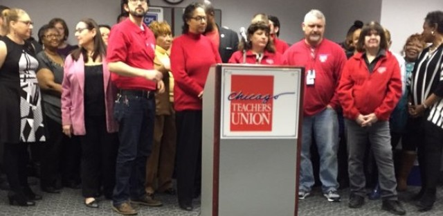 Chicago Teachers Union members prepare for press conference on February 2, 2016.