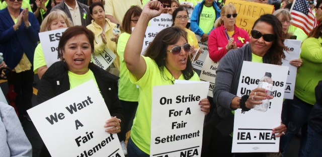 The first day of the Palatine Township Elementary District 15 support employees strike on Oct. 16 at Winston Campus elementary and junior high schools in the village.