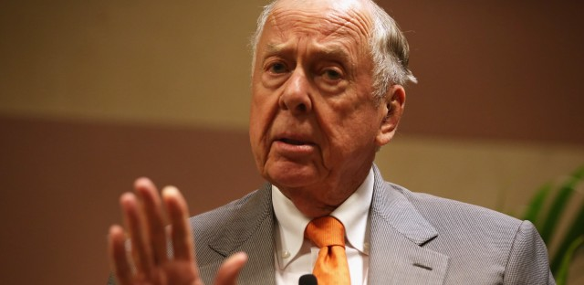 """T. Boone Pickens, founder and chairman of BP Capital Management, participates in a discussion during a """"birthday bash"""" last year in Oklahoma City."""