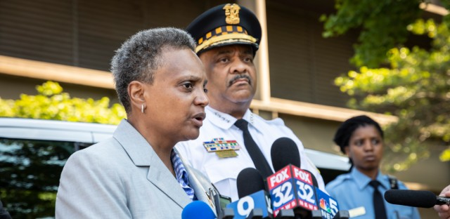 Mayor Lori Lightfoot stands with Police Superintendent Eddie Johnson at a visit to the Chicago Police Department Training and Education Academy on June 25, 2019. This week, Lightfoot named Susan Lee mayor of public safety, helping fulfill a campaign promise to coordinate anti-violence efforts.
