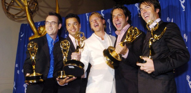 From left: Ted Allen, Jai Rodriguez, Carson Kressley, Thom Filicia and Kyan Douglas celebrate Queer Eye for the Straight Guy's 2004 Emmy win for outstanding reality program.