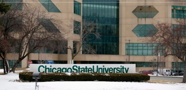 This Feb. 26, 2016 file photo shows the campus at Chicago State University in Chicago. Officials at the school say they are preparing for possible layoffs in April as the university's funds dwindle.