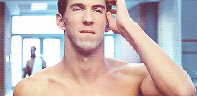 Michael Phelps, cool as a cucumber.