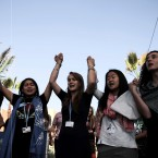 "Environmental activists stage a protest against President-elect Donald Trump at the Climate Conference, known as COP22, in Marrakech, Morocco, Wednesday, Nov. 9, 2016. The election of a U.S. president who has called global warming a ""hoax"" alarmed environmentalists and climate scientists and raised questions about whether America, once again, would pull out of an international climate deal."
