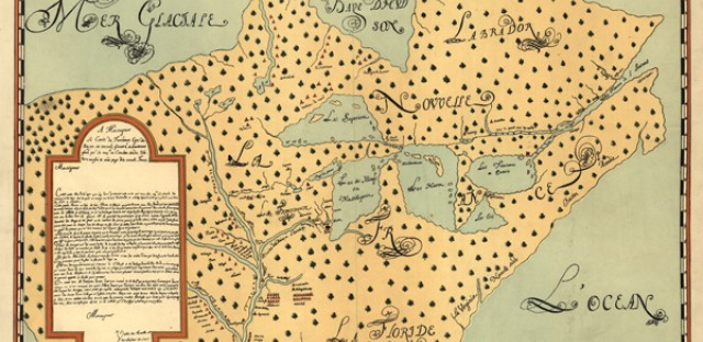 Louis Joliet's map of North America, roughly titled, 'New discoveries of the several nations in New France in the years 1673 and 1674'