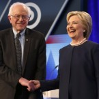 A party united: Bernie Sanders backs Hillary Clinton. The Democratic presidential candidates, Hillary Clinton and Sen. Bernie Sanders, I-Vt, seen here before the start of the Univision, Washington Post Democratic presidential debate in March.