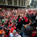 Chicago Teachers Union President Karen Lewis telling a massive crowd gathered on Sept. 9, 2012 that Chicago teachers will go on the first strike for the first time in 25 years. Lewis is retiring this month after eights years as union president.
