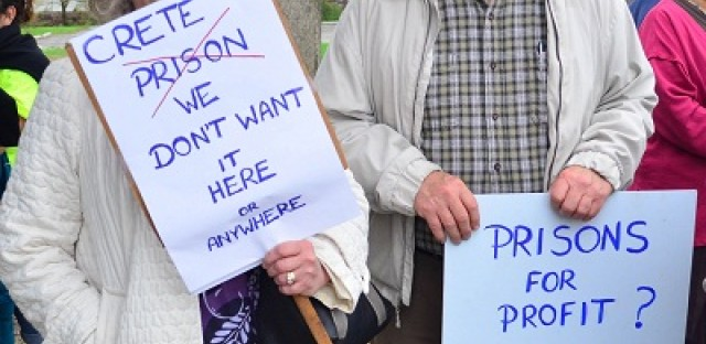 Village residents protest against the project in April.