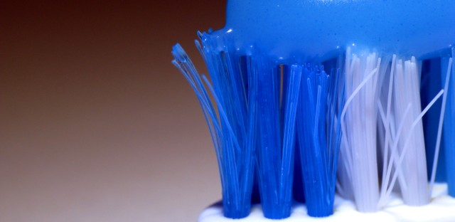 Toothpaste on a toothbrush.